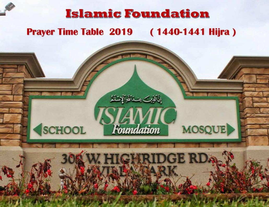 2019 Islamic Foundation Prayer Time Table – Islamic Foundation